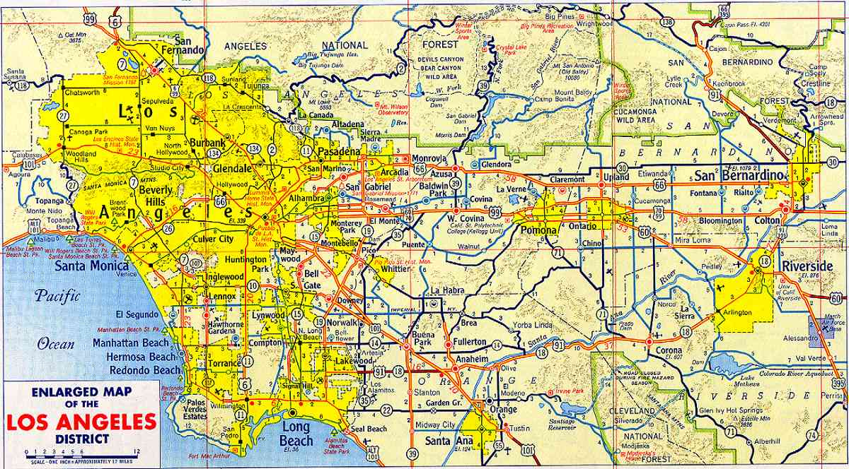 large detailed road map of los angeles of 1955