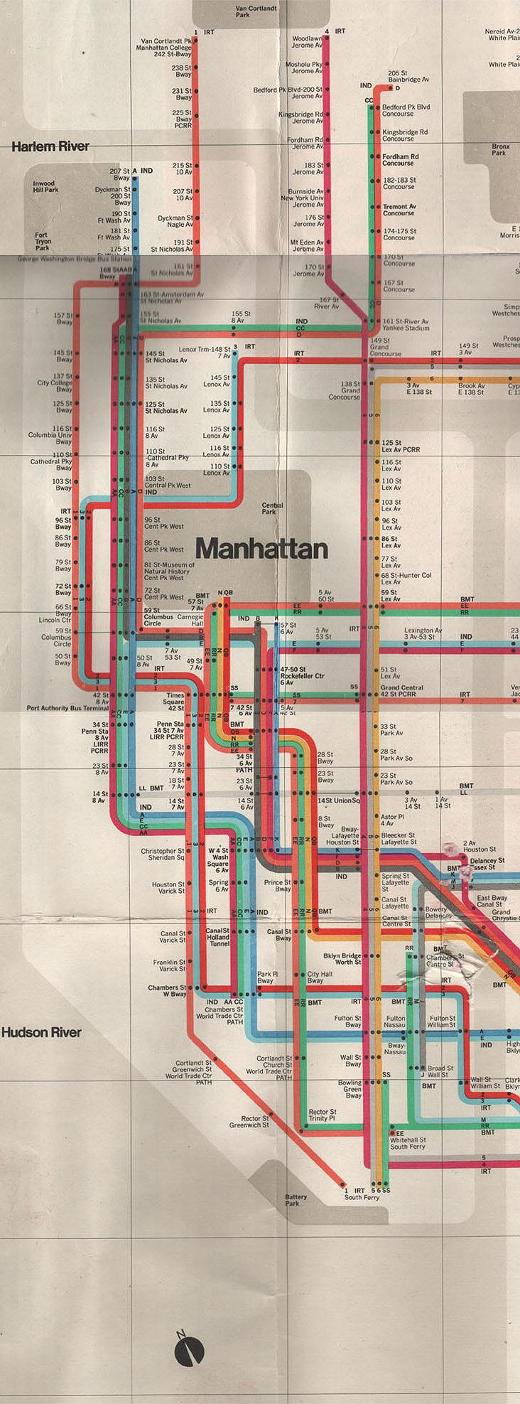 Detailed subway map of Manhattan Maps of