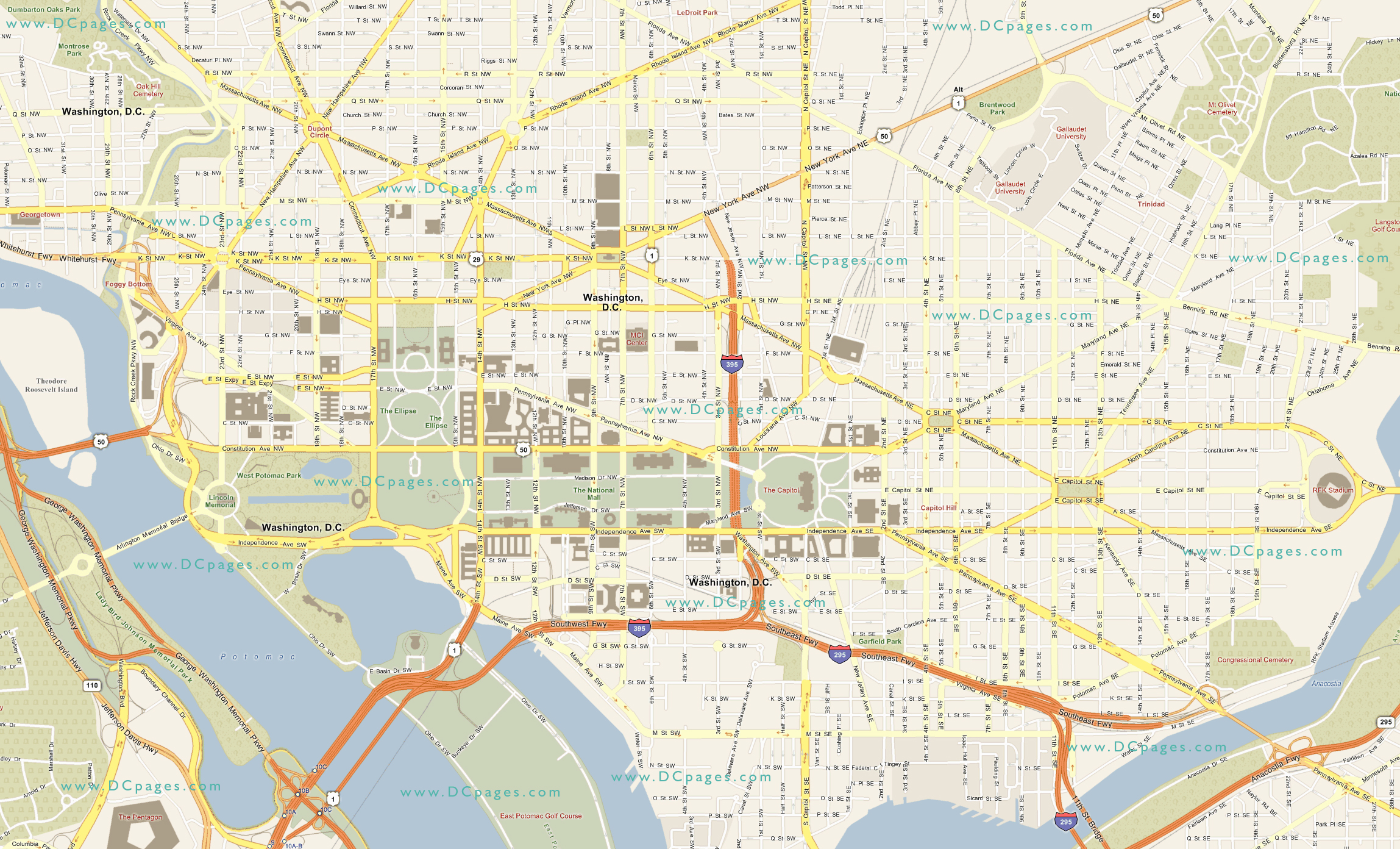 Washington Dc Road Map Washington Dc Map - Washington dc area map pdf
