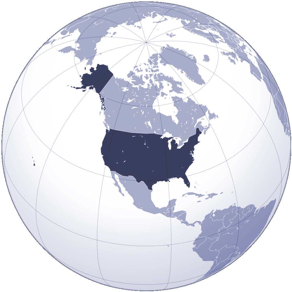 the united states location on world map