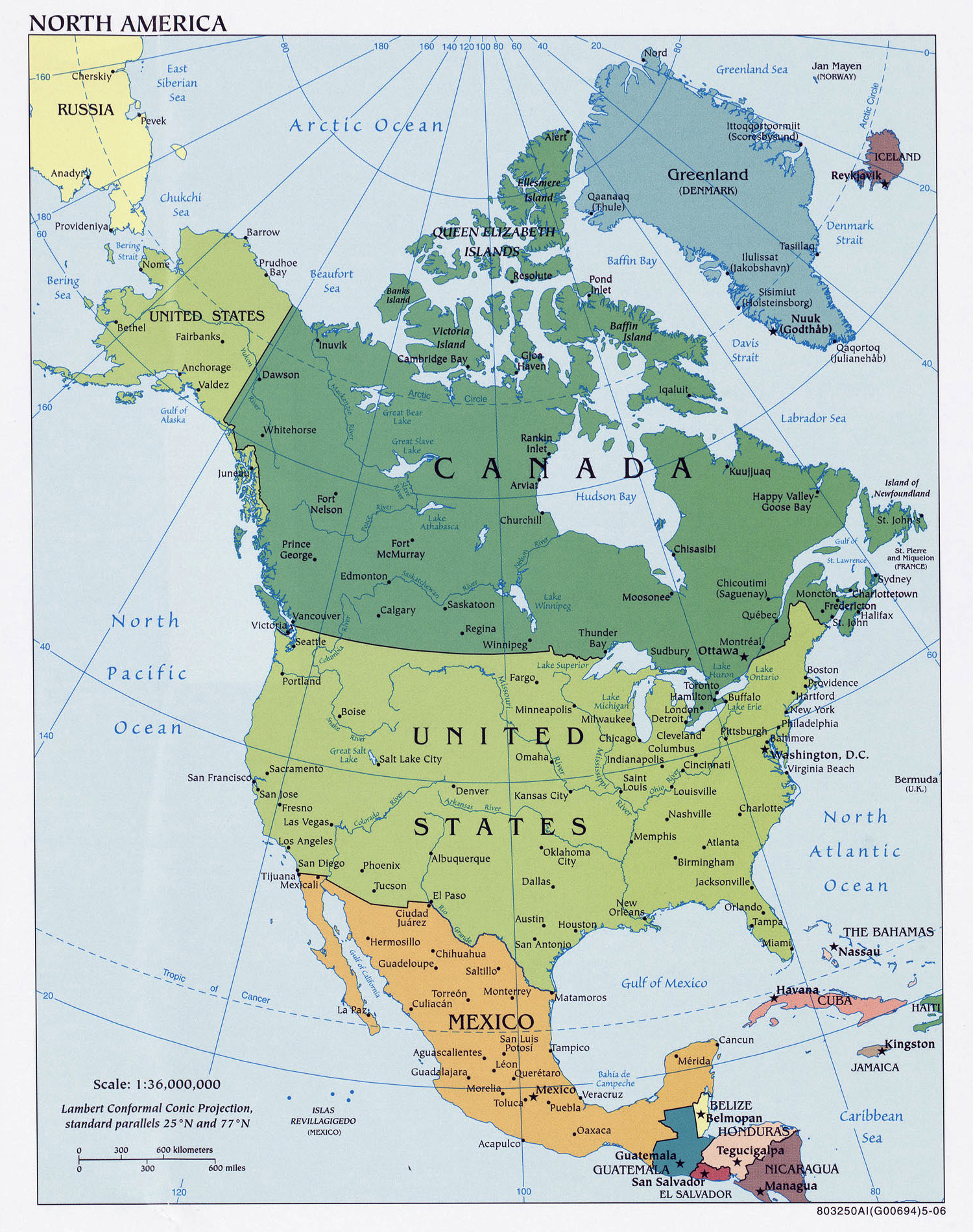 north america detailed political map