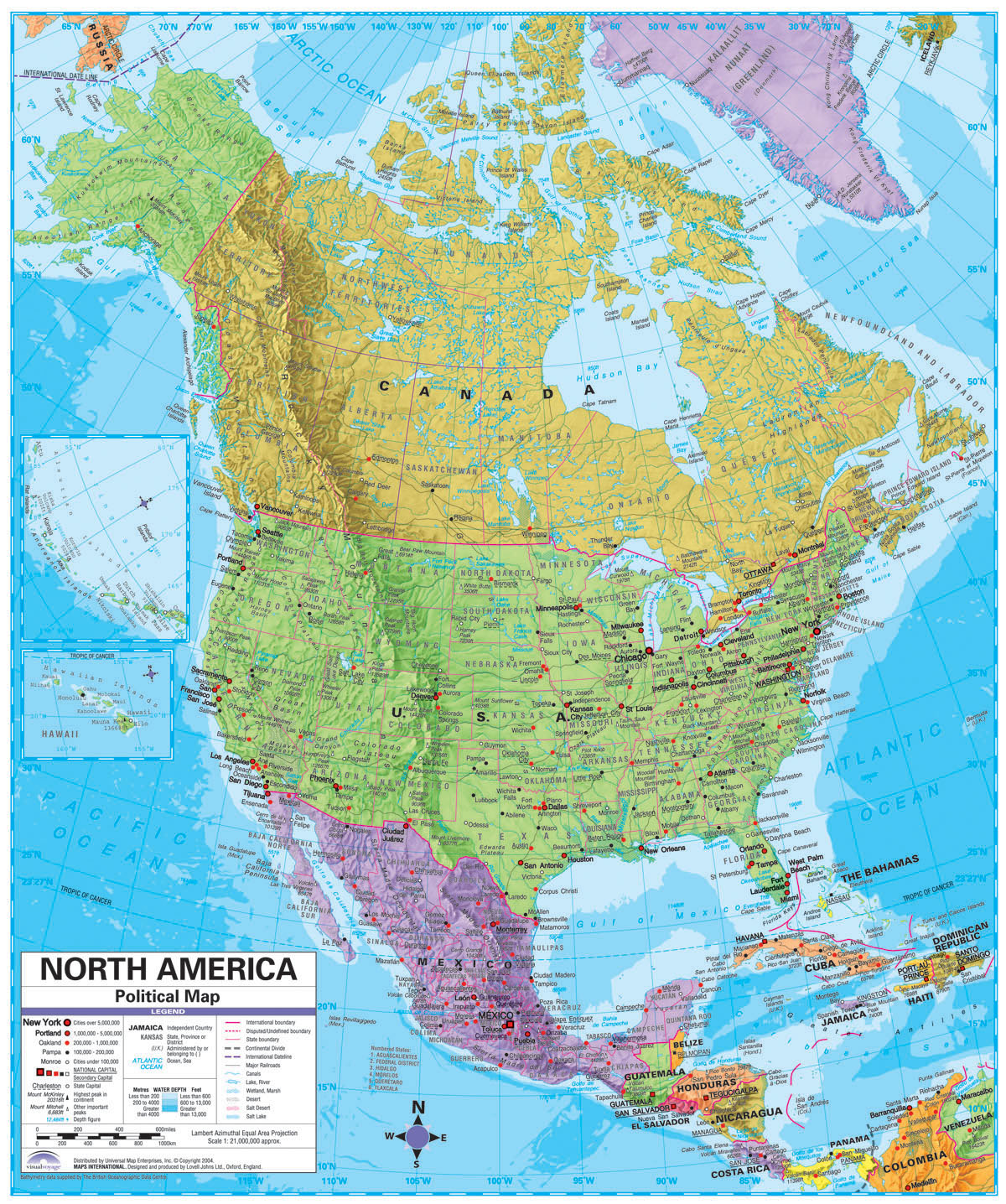 north america large detailed political and relief map with cities