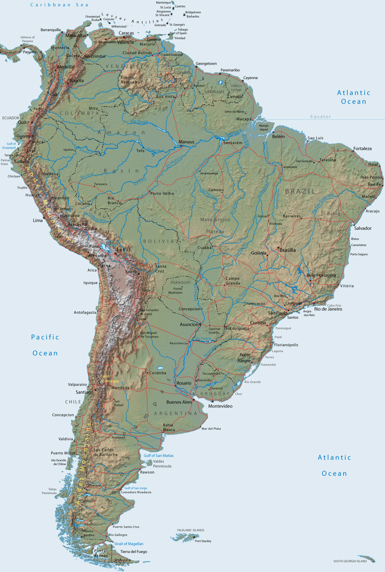 Maps Of South America Map Library Maps Of The World - South america relief map peru
