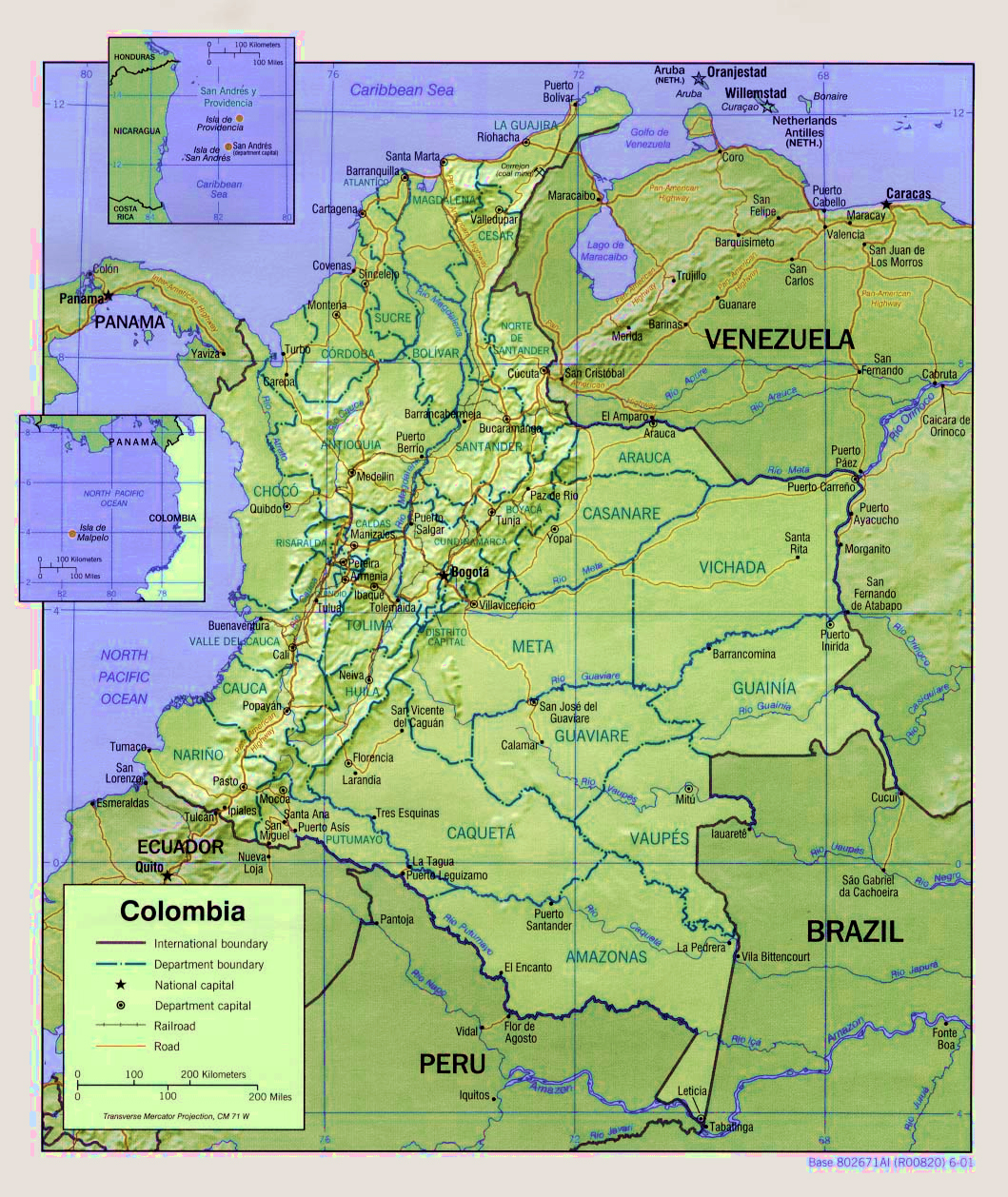 Maps of colombia map library maps of the world large detailed administrative and political map of colombia with relief and roads publicscrutiny Choice Image