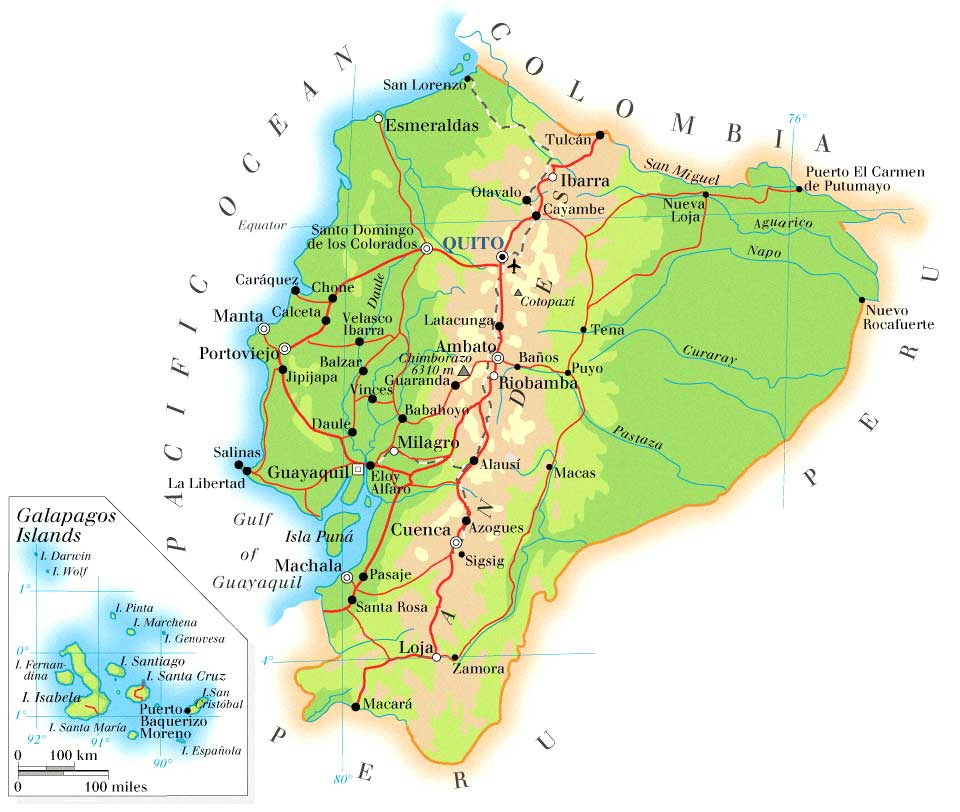Maps of ecuador map library maps of the world detailed physical map of ecuador with roads gumiabroncs Choice Image