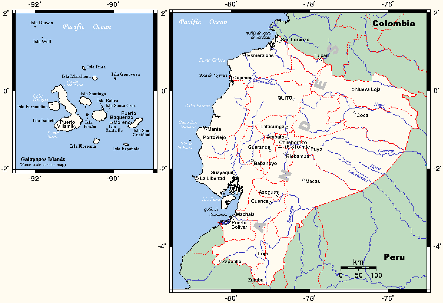 Maps of ecuador map library maps of the world detailed political map of ecuador gumiabroncs Choice Image