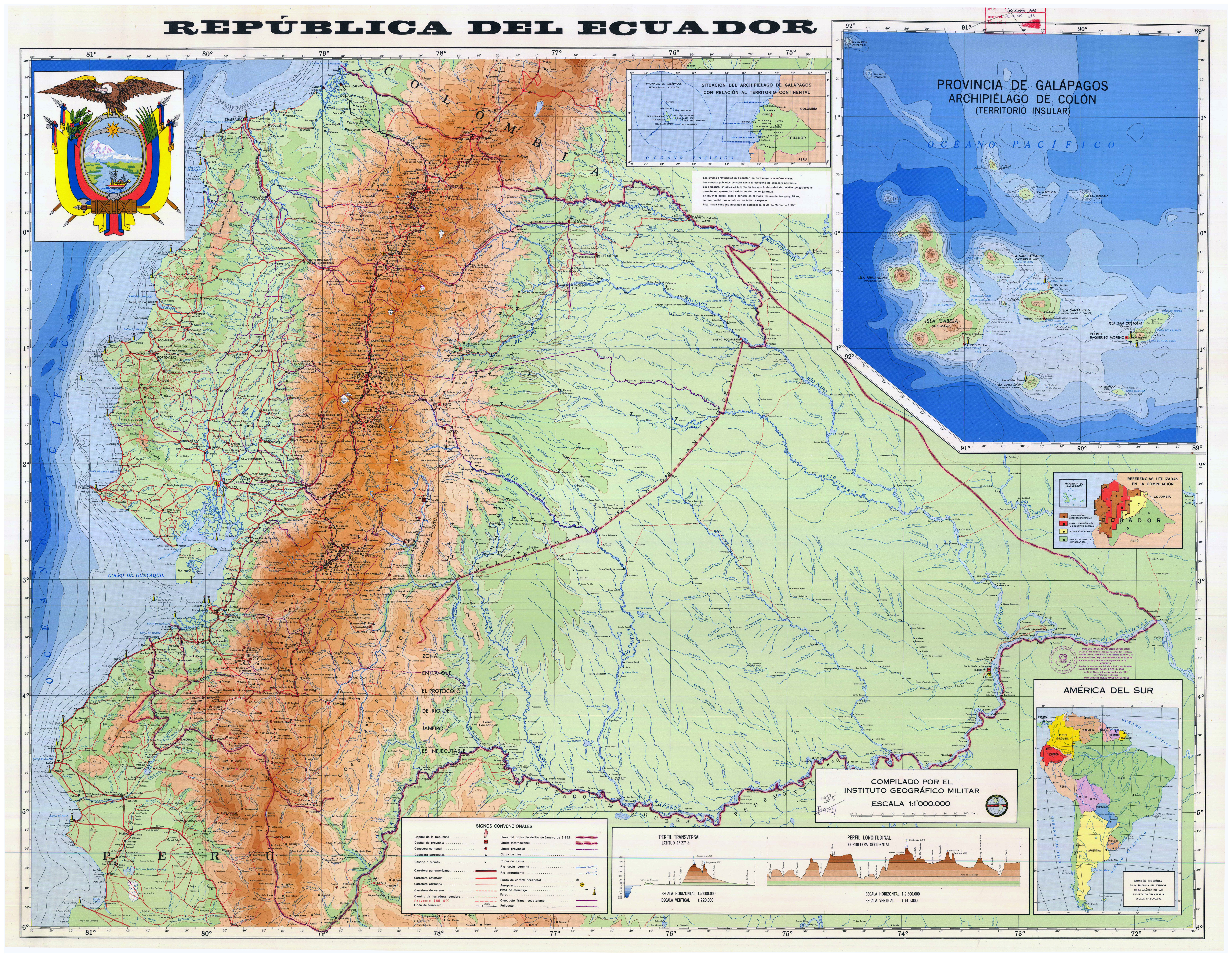Maps of ecuador map library maps of the world large detailed physical map of ecuador with all roads and cities gumiabroncs Choice Image