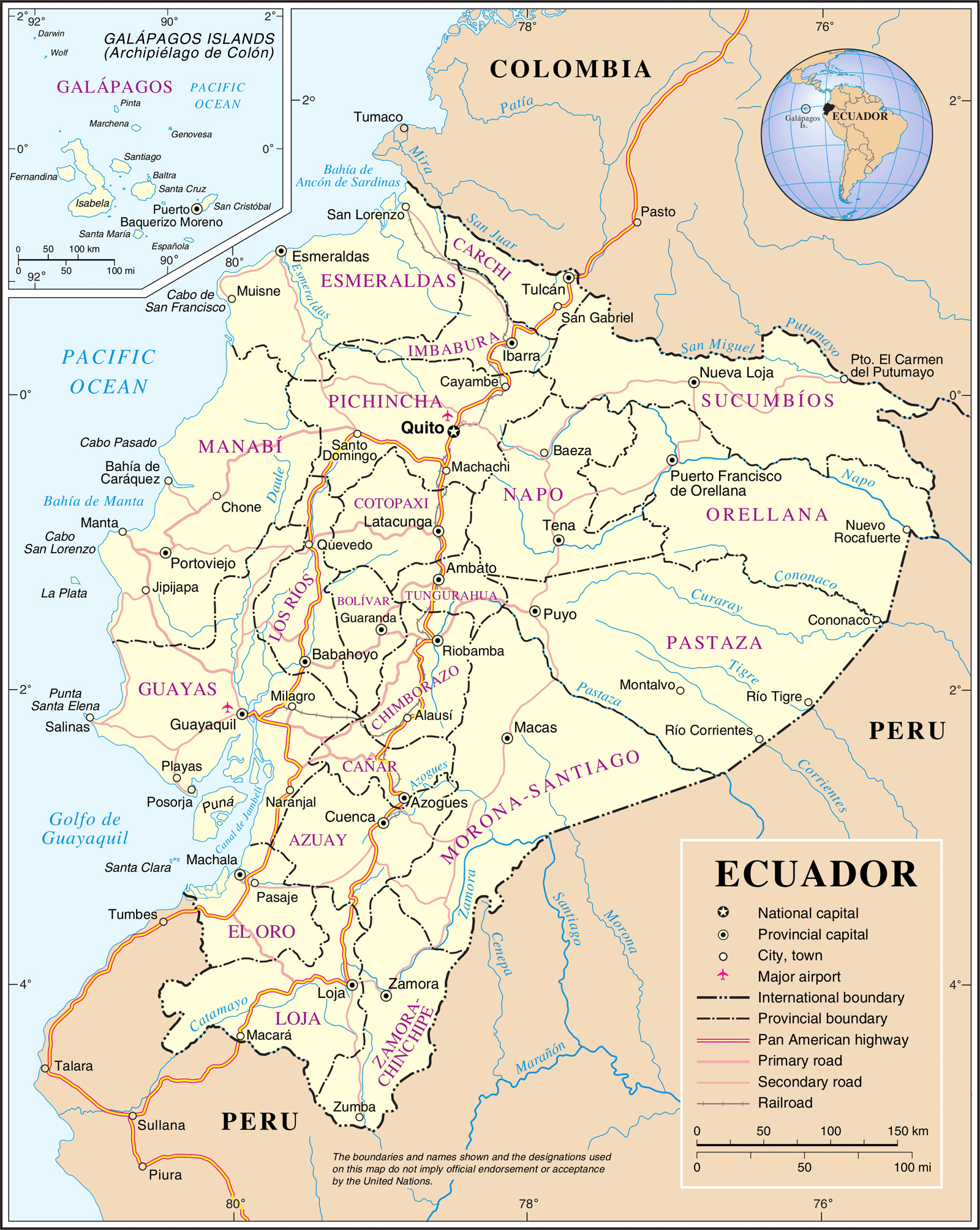 Maps of ecuador map library maps of the world large detailed political and administrative map of ecuador with roads and cities gumiabroncs Choice Image