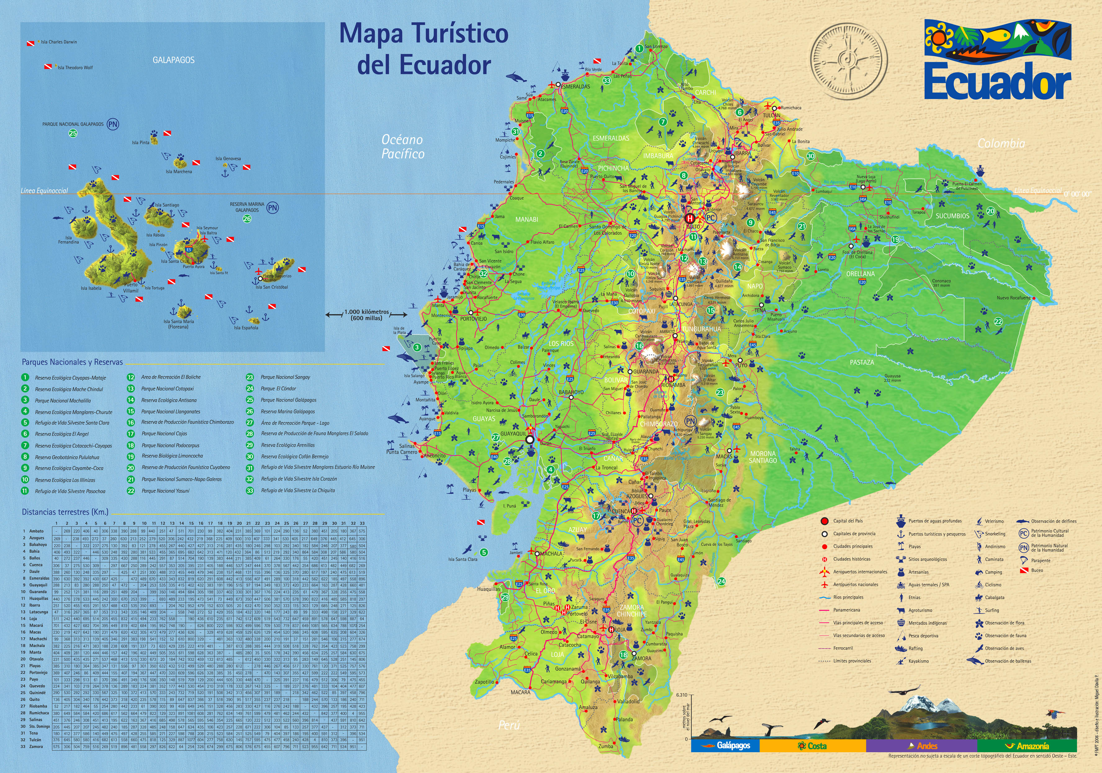 Maps of ecuador map library maps of the world large detailed tourist map of ecuador with roads gumiabroncs Choice Image