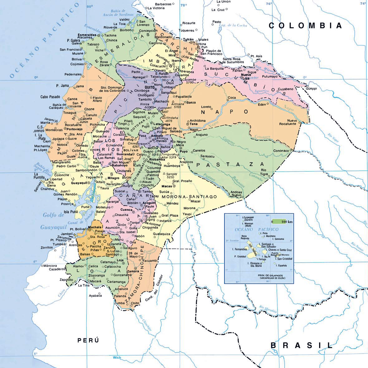 Maps of ecuador map library maps of the world map of ecuador with cities gumiabroncs Choice Image